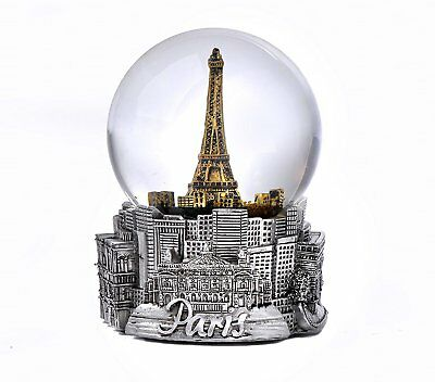 Paris In Silver With Gold Eiffel Tower  Exclusive 65Mm Snow Globe-New