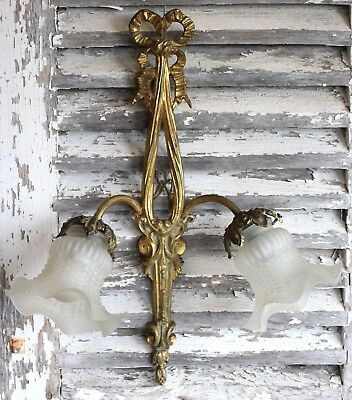 An Antique French Double Arm Bronze Ormolu Wall Light with Glass Shades (ref 4)