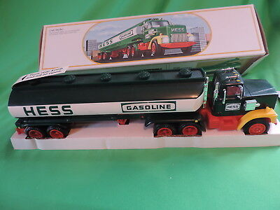 Vintage 1984 Hess Gasoline Toy Tanker Truck Bank W/ Barrel Still Wrapped L@@k !!