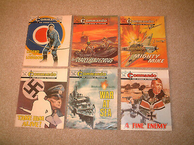 6 VERY EARLY OLD COMMANDO COMIC BOOKS 1300's WAR STORIES BUNDLE JOB LOT