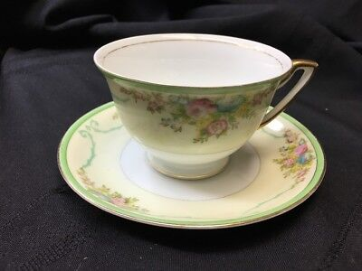 NSP Meito China Porcelain Japan Floral Gold Green Yellow Cup & Saucer Set