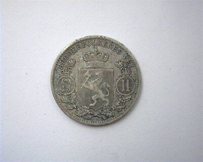 Norway 1899 Silver 25 Ore  Choice Extremely Fine