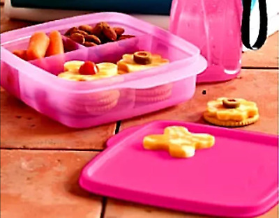 Tupperware Lunch-It Divided Square Lunch Box Snacks Sides Pink New