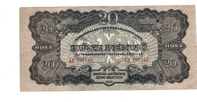 20 Pengo Vf Banknote Hungary 1944!russian Red Army Issued!pick-M6