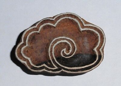 Tibetan Cloud Shaped 6.4 cm Indian Hand Carved Wooden Printing Block