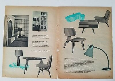 1948 vintage furniture Charles Eames era chair Jen's Rison table two-page ad