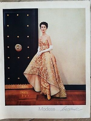 1961 MODESS because women's feminine hygiene gold evening gown ad