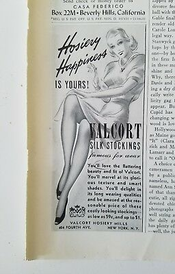1939 women's Valcort Silk Stockings Hosiery Happiness Vintage fashion ad