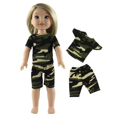Camo T-shirt Shorts Kit for American Girl Journey My Life 14'' Doll Outfit