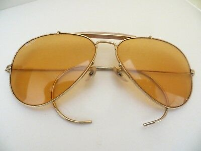 f241a4ac021 VINTAGE RAY BAN Bausch   Lomb Amber lenses Aviator Sunglasses 70 s ...