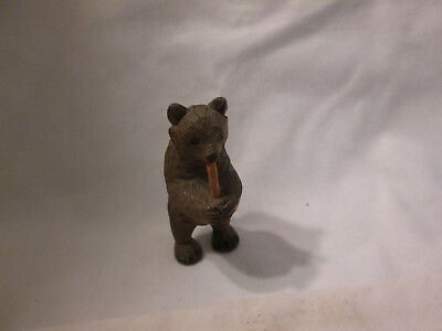 """Small 2 1/4"""" Hand Carved Brown Bear Figure Chewing on Stick"""