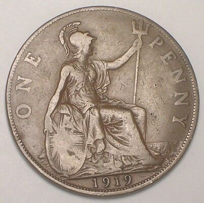 1919 UK Great Britain British One 1 Penny King George V Coin F+