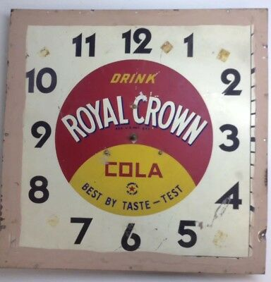RC Royal Crown Cola Advertising Wall Clock Sign Selectoclock Industrial Art Old