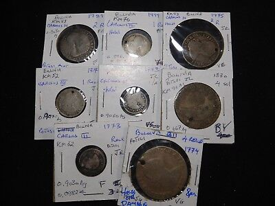 B11 Bolivia Holed Or Damaged Mixed Group 8 Pcs