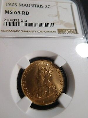 B38 British Africa Mauritius 1923 2 Cents NGC MS-65 FULL RED
