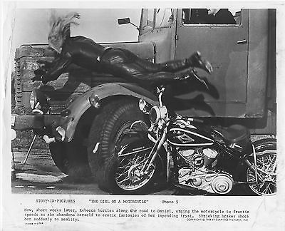 THE GIRL ON A MOTORCYCLE original1968 movie lobby photo HARLEY DAVIDSON FLATHEAD