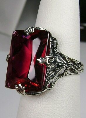 10ct *Red/Ruby* Sterling Silver Art Deco Leaf Filigree Ring Size [Made To Order]