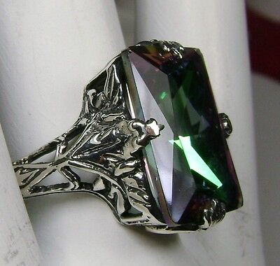 10ct*Mystic Topaz* Sterling Silver 1930's Art Deco Filigree Ring (Made To Order)