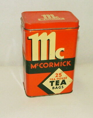 %  1960'S McCORMICK TEA BAGS TIN CAN 5 INCHES TALL
