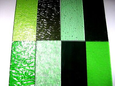 8 GREEN Stained Glass Hobby Sheets 100mm x 50mm x 3m  Quality Craft Items LOT A