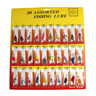 Lot 30 PCS Assorted Spoon Fishing Lures Metal Hooks Spinner Crank Baits Tackle