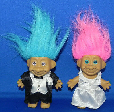 Troll Dolls Bride Groom 5 Trollkins 2005 Blue Pink Hair Wedding Cake Topper