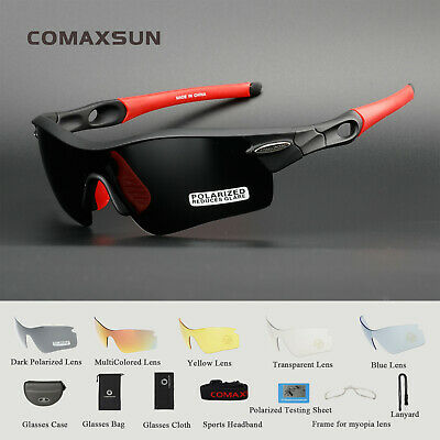 Polarized Cycling Glasses Bike Goggles Sports MTB Sunglasses UV400 5 Lens TR90