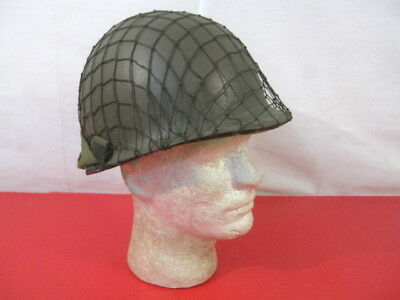 """Original US Army M1 """"Steel Pot"""" Helmet w/Complete Liner & WWII Style Net Cover"""