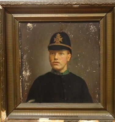 Fine 19th Century English Portrait Of A Policeman Antique Oil Painting Police