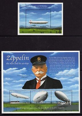 2000 The Gambia Centenary of 1st Zeppelin Flight SG3438-40 Sheetlet & SG MS 3431