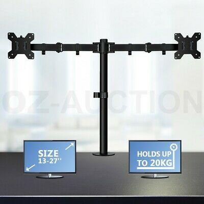 """13""""-27"""" Dual Arm Monitor Stand TV Bracket Computer Screen Display Holder Mount"""