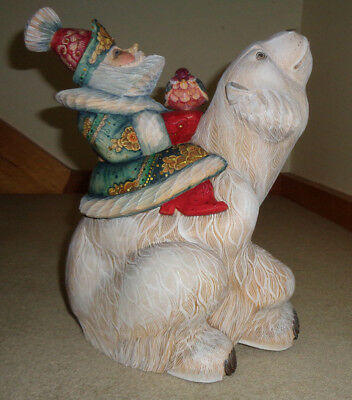 Solid Wood Hand Carved Russian Santa & Polar Bear Artist Signed 2013 NO RESERVE