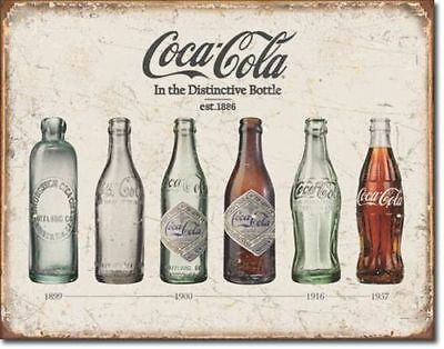Vintage Coca Cola Bottle Blechschild USA Soft Drink Coke Neu 30 x 40 cm Werbung