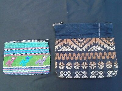 Two Authentic Vintage 1970's Hand Woven Mexican Cotton Small Change Coin Purses