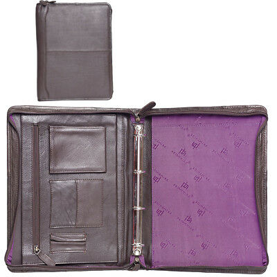 Mens Gents Womens Brown Leather Zip Around File Business Travel Document Holder