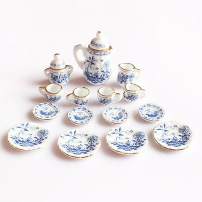 15pcs Dolls House Miniature Blue Flower Porcelain Teaware Tea Set 1/12 Scale