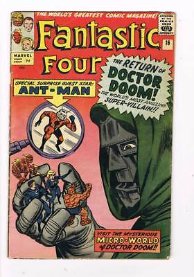 Fantastic Four # 16  The Return of Doctor Doom ! grade / 4.5 scarce book !