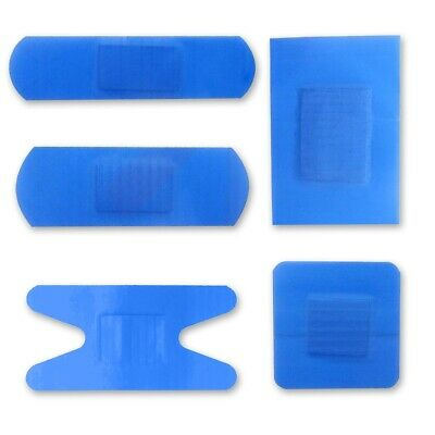100x ASSORTED BLUE CATERING PLASTER Small - Large Food Safe Kitchen Dressing