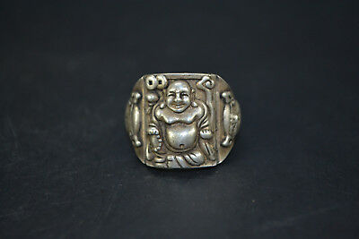 Vintage Collectible handwork Old Tibet Silver carve buddha chinese totem Ring