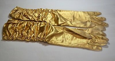 Vintage Metallic Gold Nylon Lame Stretch Elbow Length Ruched Gloves Size B