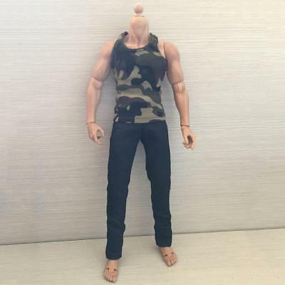 1/6 Mens Army Green Vest Top + Black Jeans Pants Fit 12Inch Action Figure