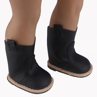 "Black Patent Tall Rocker Boots for American Girl 18/"" Doll Shoes Clothes LOVVBUGG"