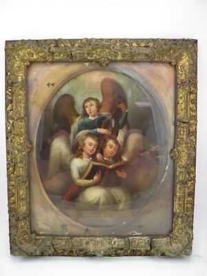 Fine antique 18th century English School oil painting on tin portrait cherubs