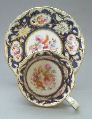 Coalport Hand Painted  Coffee Cup And Saucer  - Adelaide Shape - C. 1840