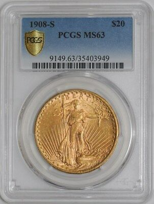 1908-S $20 Saint Gaudens #938688-3 MS63 Secure Plus PCGS