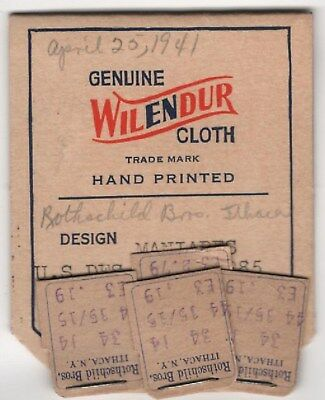 Paper Label Tag from Wilendur Manjares Hand Printed Tablecloth 1941 Vintage