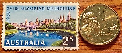 1990 Australia $2 Dollar Queen Elizabeth II Coin Plus Olympic Stamp