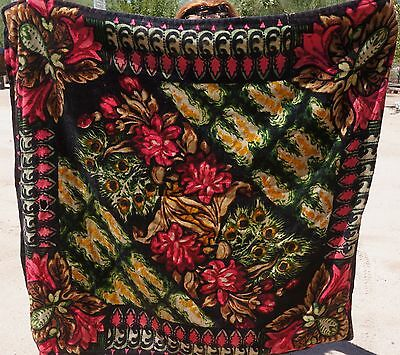 1880s Antique CHASE Horsehair & Wool SLEIGH Buggy Blanket COLORFUL FLOWERS 54x58