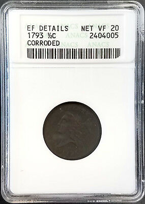 1793 Liberty Cap Half Cent certified Net VF 20 by ANACS! 1st year of minting!