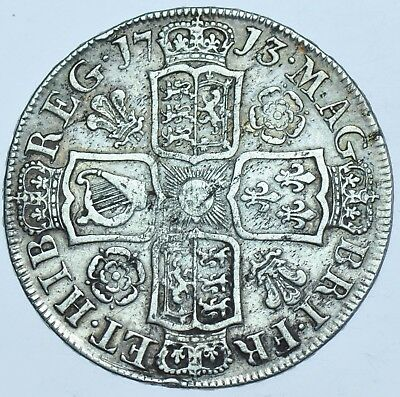 1713 Halfcrown, Roses & Plumes, British Silver Coin From Anne Vf